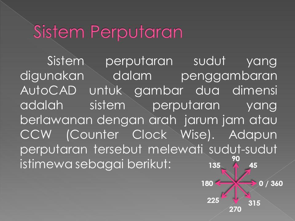 Sistem perputaran sudut yang digunakan dalam penggambaran AutoCAD untuk gambar dua dimensi adalah sistem perputaran yang berlawanan dengan arah jarum jam atau CCW (Counter Clock Wise).