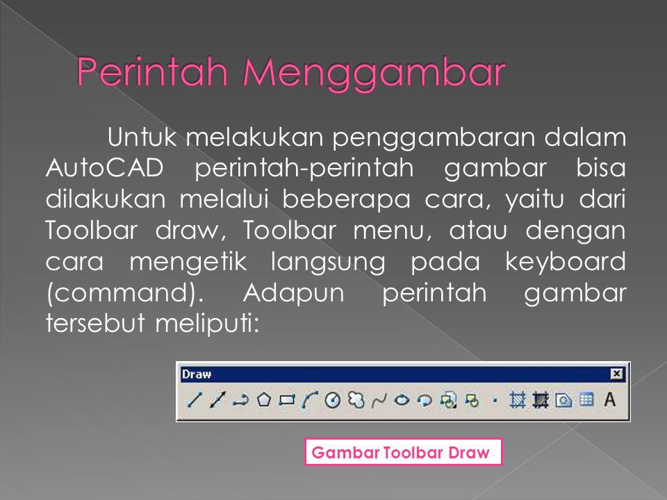 Untuk melakukan penggambaran dalam AutoCAD perintah-perintah gambar bisa dilakukan melalui beberapa cara, yaitu dari Toolbar draw, Toolbar menu, atau dengan cara mengetik langsung pada keyboard (command).