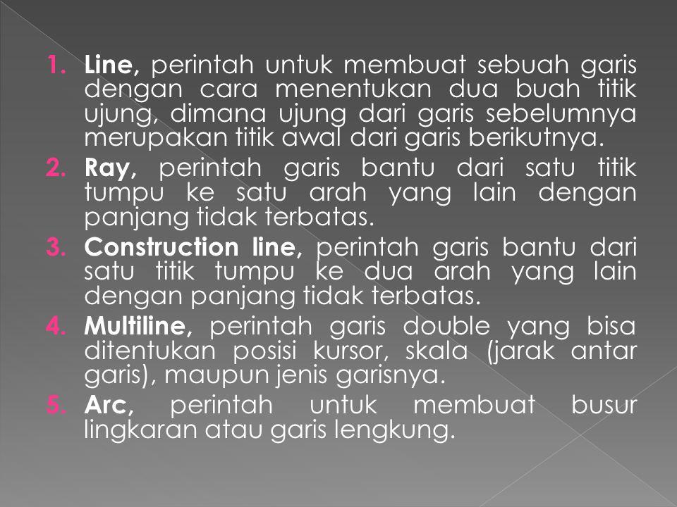 1. Line, perintah untuk membuat sebuah garis dengan cara menentukan dua buah titik ujung, dimana ujung dari garis sebelumnya merupakan titik awal dari