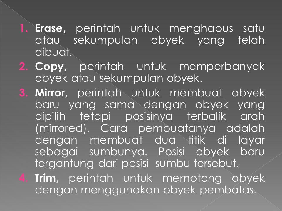 1.Erase, perintah untuk menghapus satu atau sekumpulan obyek yang telah dibuat.