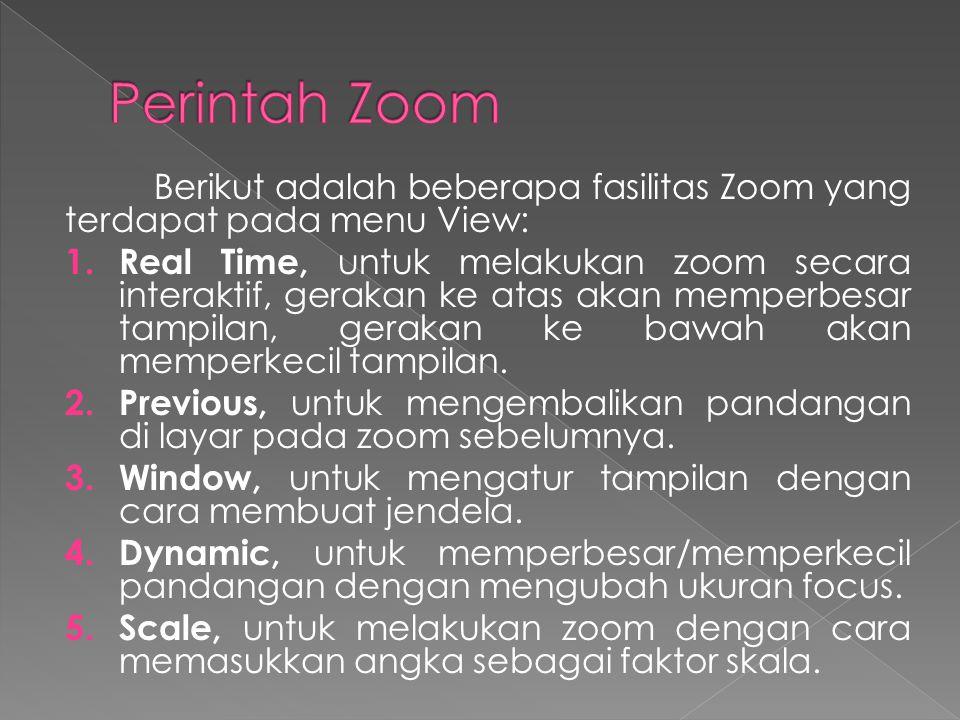 Berikut adalah beberapa fasilitas Zoom yang terdapat pada menu View: 1.