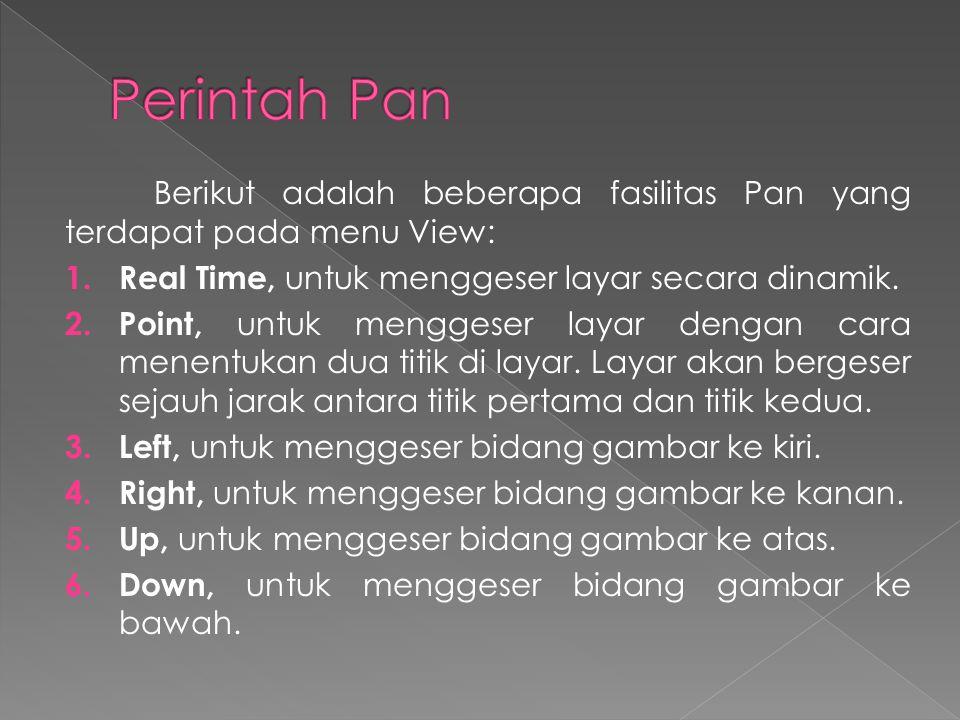 Berikut adalah beberapa fasilitas Pan yang terdapat pada menu View: 1.