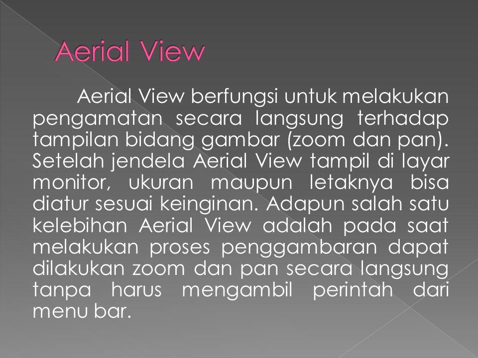 Aerial View berfungsi untuk melakukan pengamatan secara langsung terhadap tampilan bidang gambar (zoom dan pan).