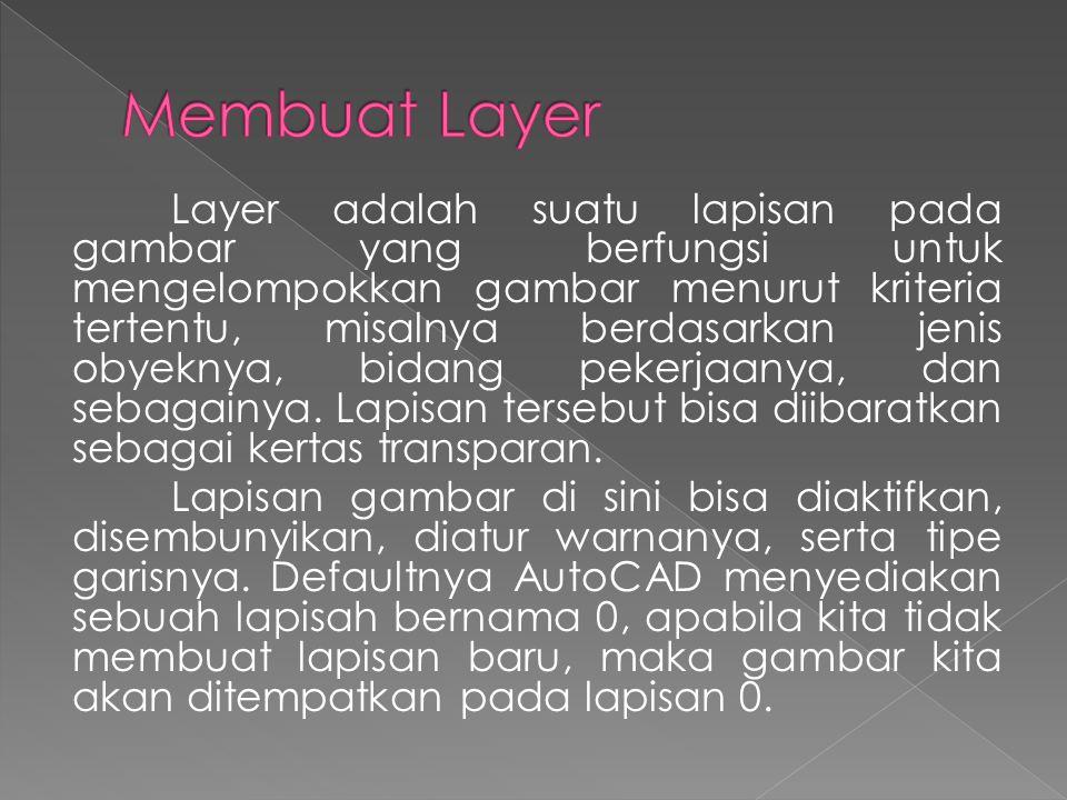 Layer adalah suatu lapisan pada gambar yang berfungsi untuk mengelompokkan gambar menurut kriteria tertentu, misalnya berdasarkan jenis obyeknya, bidang pekerjaanya, dan sebagainya.