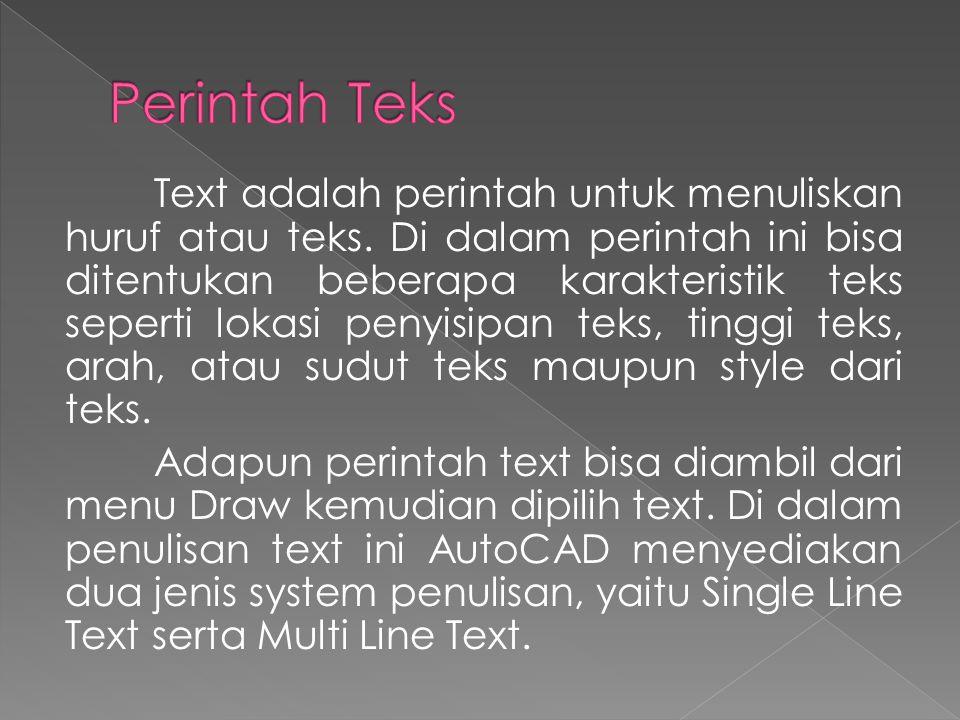 Text adalah perintah untuk menuliskan huruf atau teks.