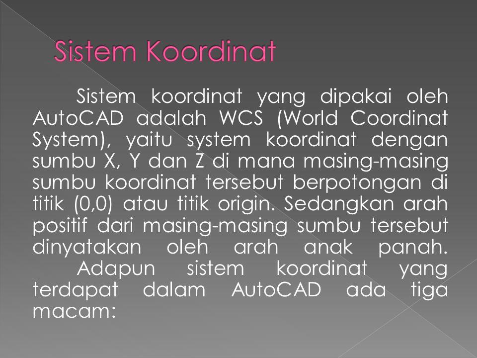 Sistem koordinat yang dipakai oleh AutoCAD adalah WCS (World Coordinat System), yaitu system koordinat dengan sumbu X, Y dan Z di mana masing-masing sumbu koordinat tersebut berpotongan di titik (0,0) atau titik origin.