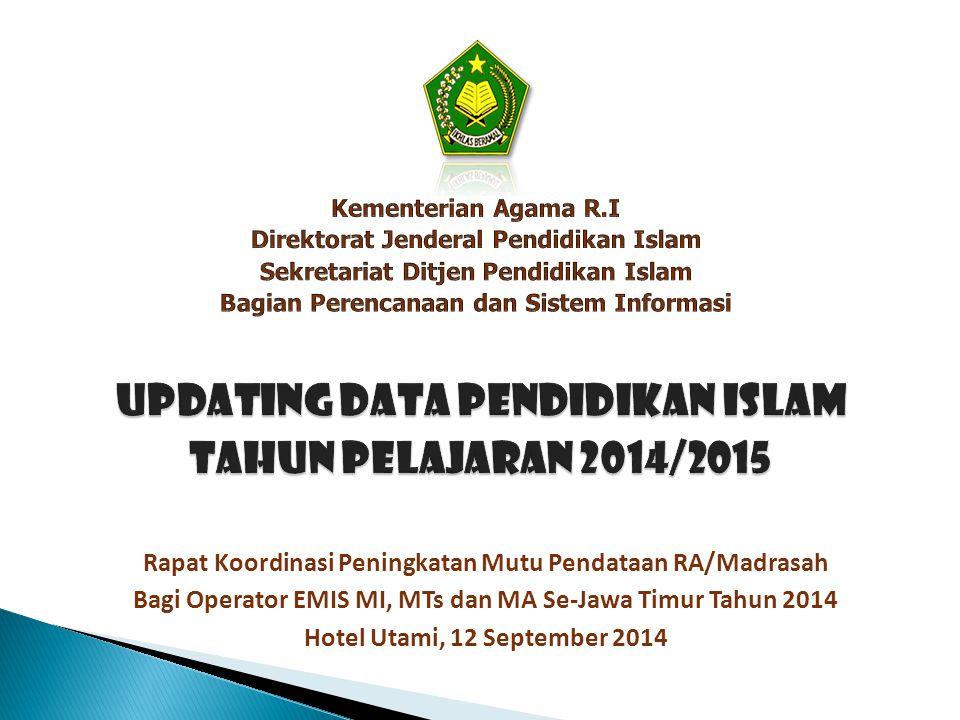 2.Pelaksanaan Updating Data RA/Madrasah  Melakukan sosialisasi dan pendampingan bagi operator Kankemenag Kab./Kota dan operator lembaga di wilayahnya dalam pelaksanaan updating data EMIS RA/Madrasah TP 2014/2015.