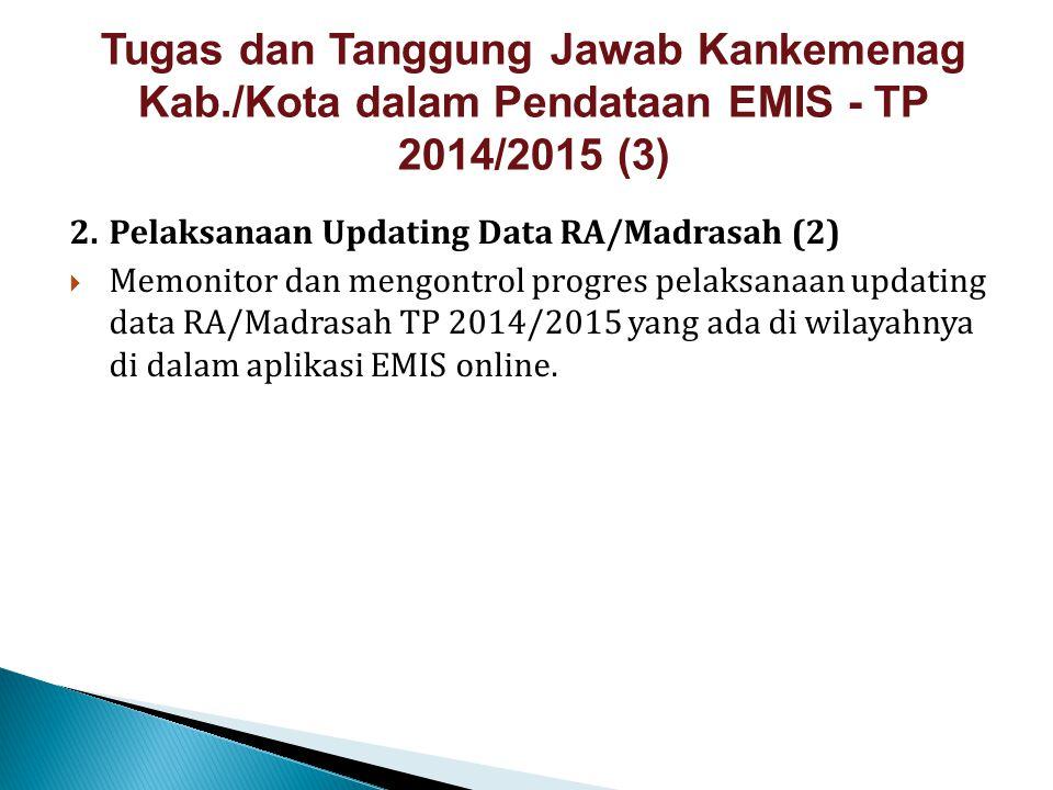 2.Pelaksanaan Updating Data RA/Madrasah (2)  Memonitor dan mengontrol progres pelaksanaan updating data RA/Madrasah TP 2014/2015 yang ada di wilayahn
