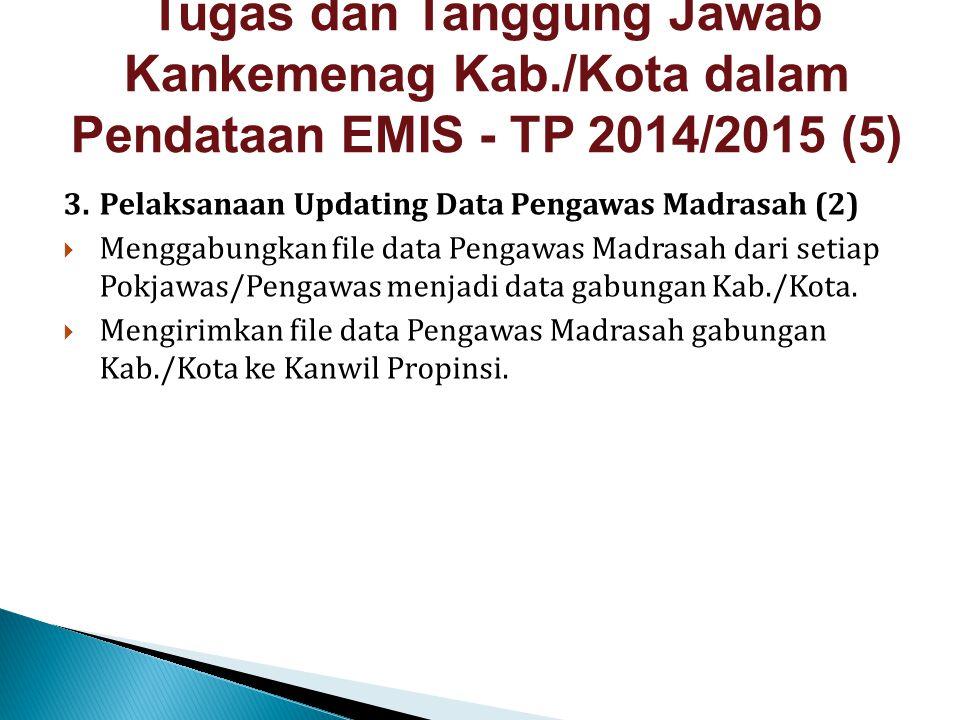 3.Pelaksanaan Updating Data Pengawas Madrasah (2)  Menggabungkan file data Pengawas Madrasah dari setiap Pokjawas/Pengawas menjadi data gabungan Kab.