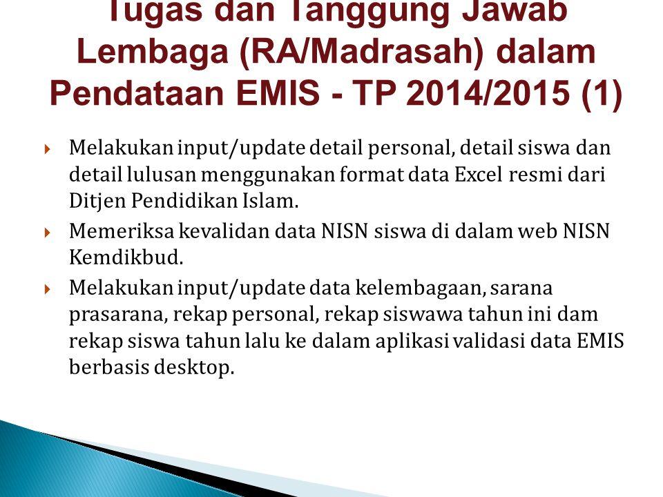  Melakukan input/update detail personal, detail siswa dan detail lulusan menggunakan format data Excel resmi dari Ditjen Pendidikan Islam.  Memeriks