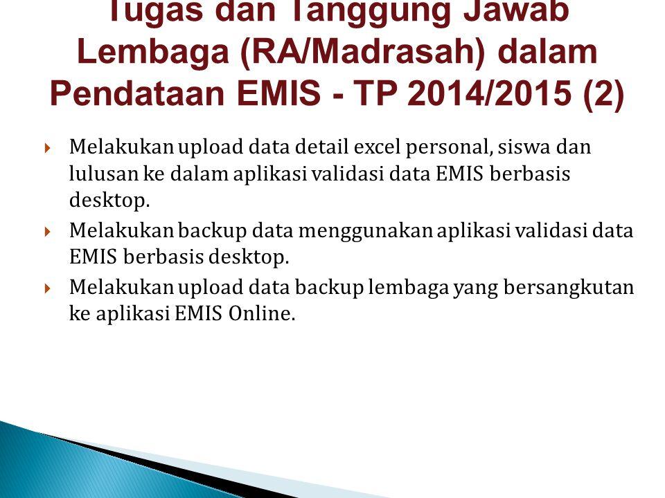  Melakukan upload data detail excel personal, siswa dan lulusan ke dalam aplikasi validasi data EMIS berbasis desktop.  Melakukan backup data menggu