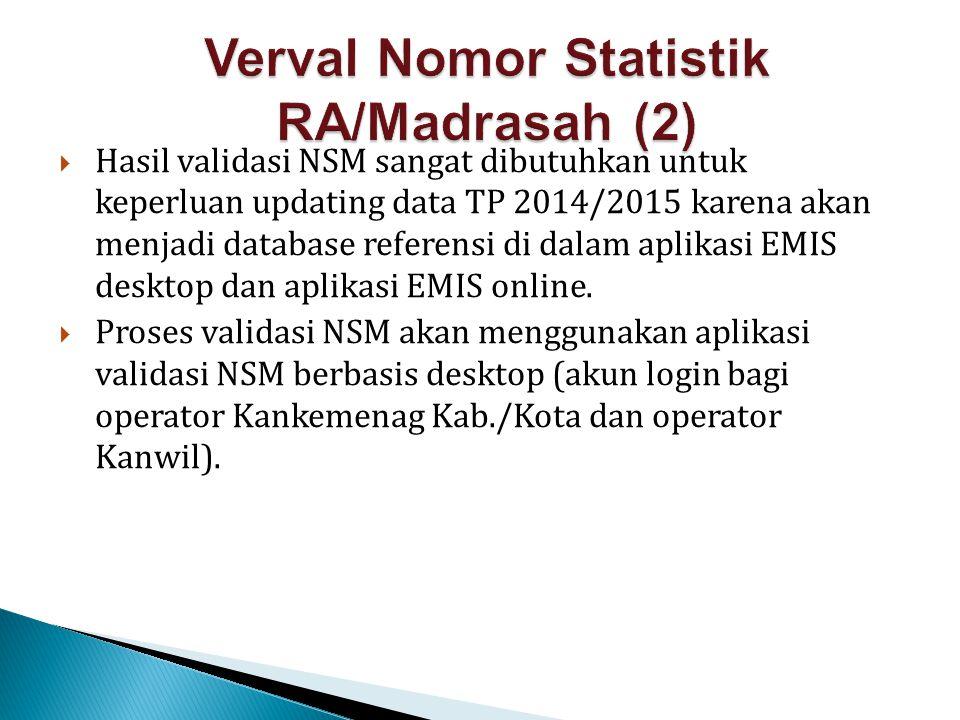  Hasil validasi NSM sangat dibutuhkan untuk keperluan updating data TP 2014/2015 karena akan menjadi database referensi di dalam aplikasi EMIS deskto