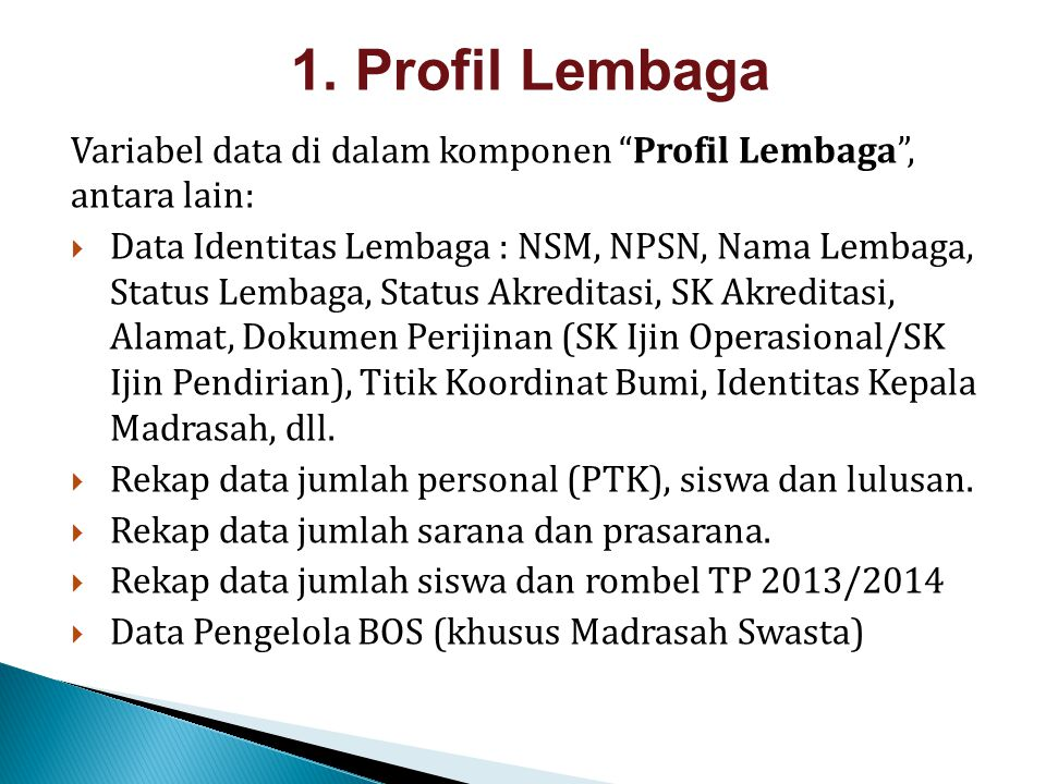"""Variabel data di dalam komponen """"Profil Lembaga"""", antara lain:  Data Identitas Lembaga : NSM, NPSN, Nama Lembaga, Status Lembaga, Status Akreditasi,"""