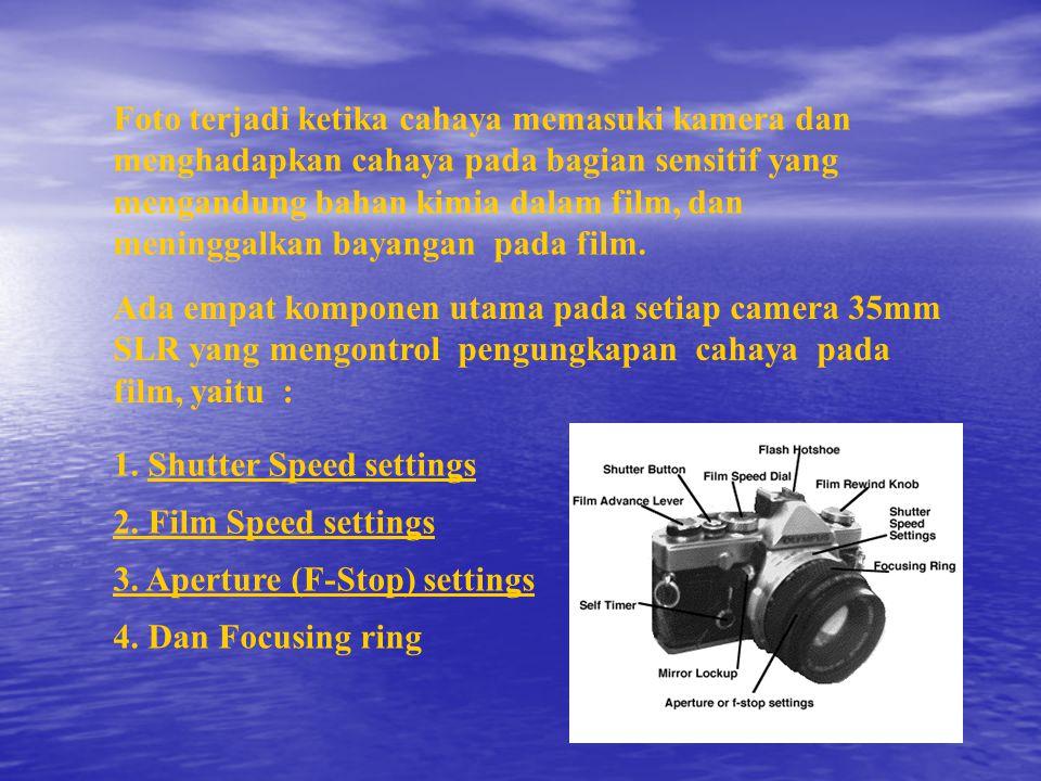 Foto terjadi ketika cahaya memasuki kamera dan menghadapkan cahaya pada bagian sensitif yang mengandung bahan kimia dalam film, dan meninggalkan bayangan pada film.