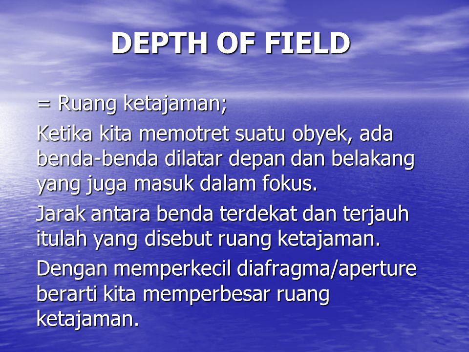 DEPTH OF FIELD = Ruang ketajaman; Ketika kita memotret suatu obyek, ada benda-benda dilatar depan dan belakang yang juga masuk dalam fokus.