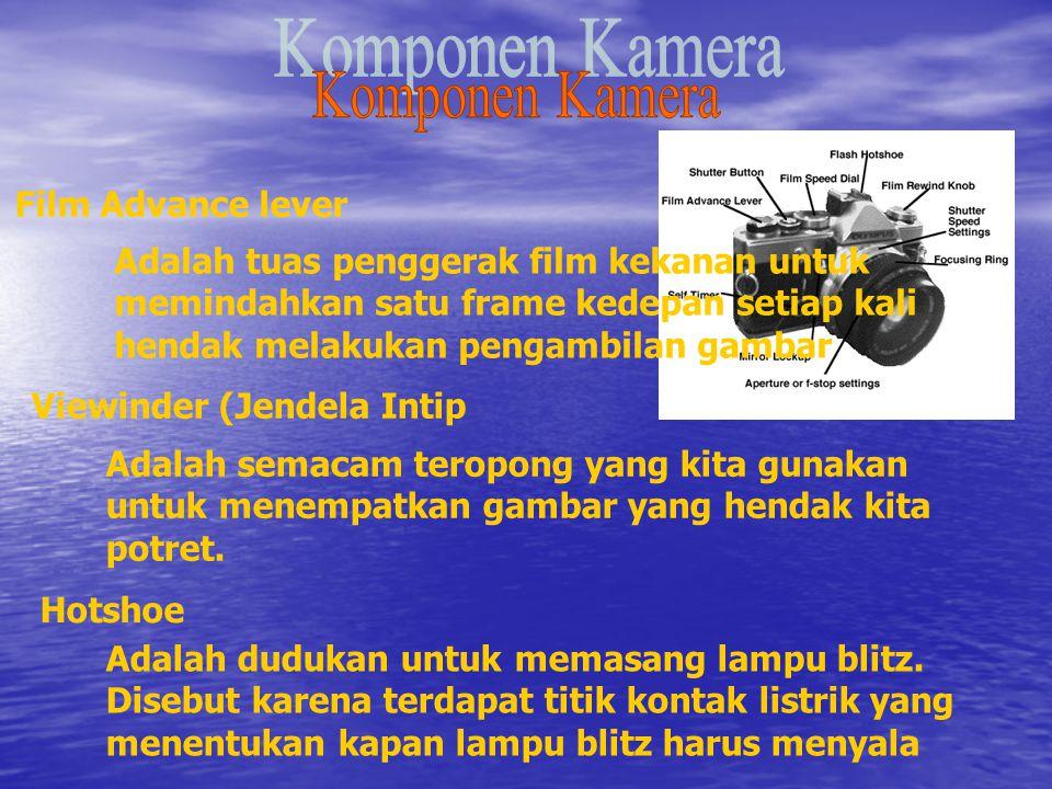 Film Rewind Knob Digunakan untuk menggulung kembali film setelah framenya habis terpakai untuk pemotretan, knob ini membuka kunci dalam sprocket kamera sehingga fim bisa digulung kembali memasuki tabungnya.