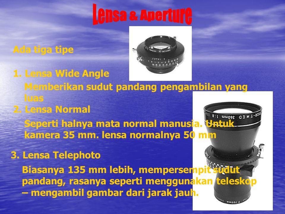 1.Lensa Wide Angle Memberikan sudut pandang pengambilan yang luas 2.