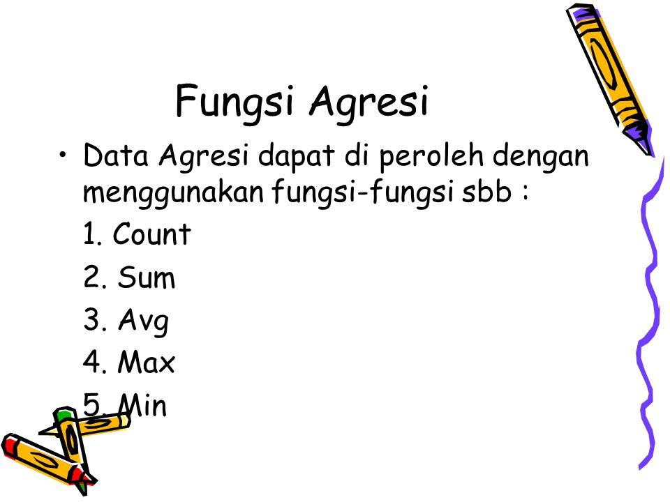Fungsi Agresi Data Agresi dapat di peroleh dengan menggunakan fungsi-fungsi sbb : 1. Count 2. Sum 3. Avg 4. Max 5. Min