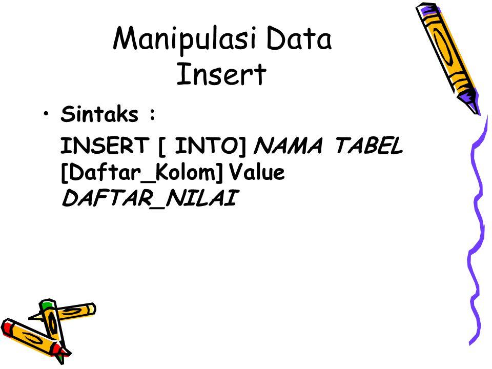 Manipulasi Data Insert Sintaks : INSERT [ INTO] NAMA TABEL [Daftar_Kolom] Value DAFTAR_NILAI