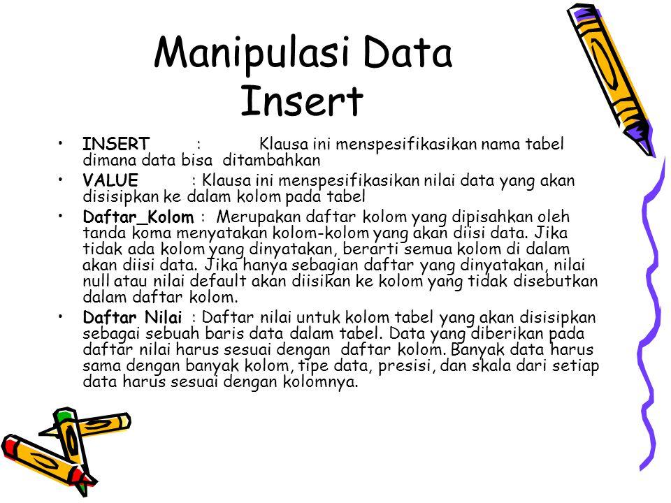 Manipulasi Data Insert INSERT :Klausa ini menspesifikasikan nama tabel dimana data bisa ditambahkan VALUE : Klausa ini menspesifikasikan nilai data ya