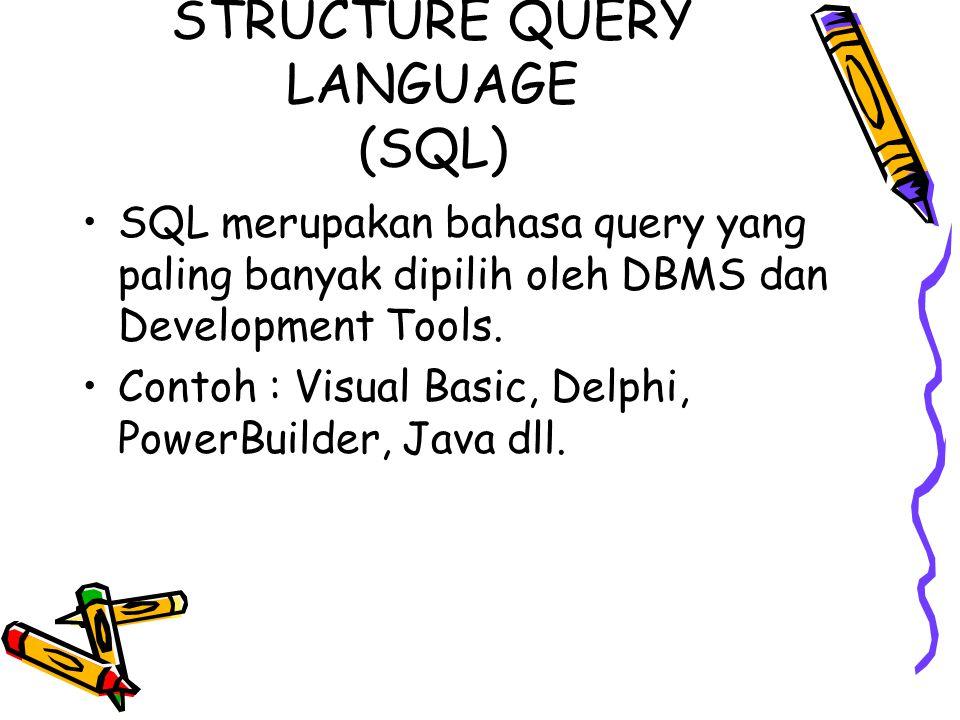 STRUCTURE QUERY LANGUAGE (SQL) SQL merupakan bahasa query yang paling banyak dipilih oleh DBMS dan Development Tools. Contoh : Visual Basic, Delphi, P