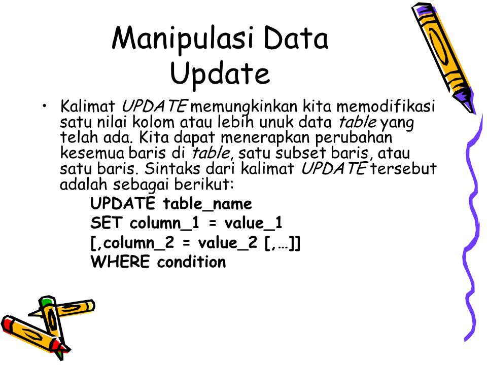 Manipulasi Data Update Kalimat UPDATE memungkinkan kita memodifikasi satu nilai kolom atau lebih unuk data table yang telah ada. Kita dapat menerapkan