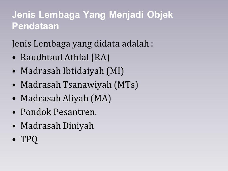 Jenis Lembaga Yang Menjadi Objek Pendataan Jenis Lembaga yang didata adalah : Raudhtaul Athfal (RA) Madrasah Ibtidaiyah (MI) Madrasah Tsanawiyah (MTs)