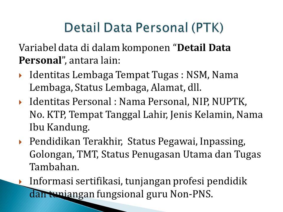 """Variabel data di dalam komponen """"Detail Data Personal"""", antara lain:  Identitas Lembaga Tempat Tugas : NSM, Nama Lembaga, Status Lembaga, Alamat, dll"""