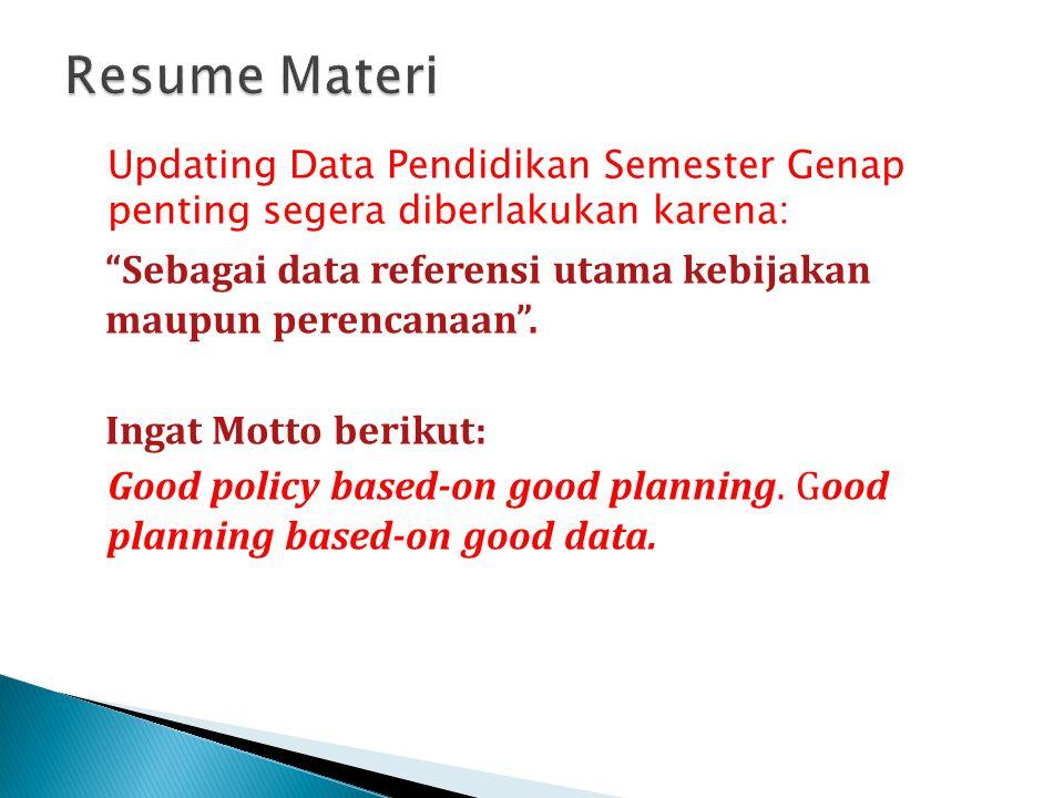 """Updating Data Pendidikan Semester Genap penting segera diberlakukan karena: """"Sebagai data referensi utama kebijakan maupun perencanaan"""". Ingat Motto b"""