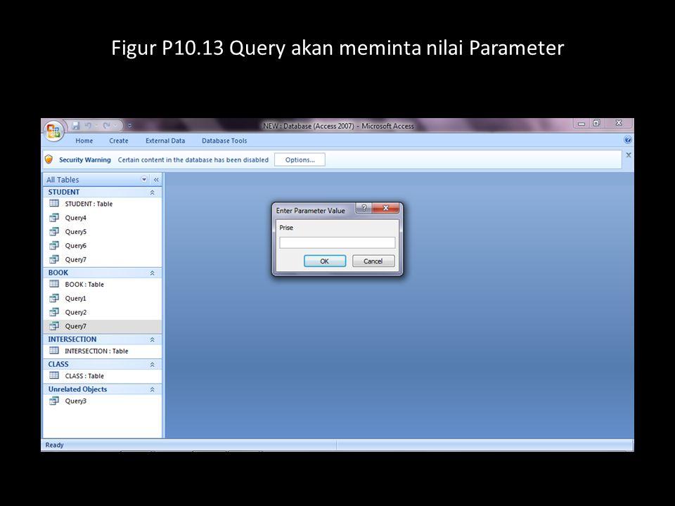Figur P10.13 Query akan meminta nilai Parameter