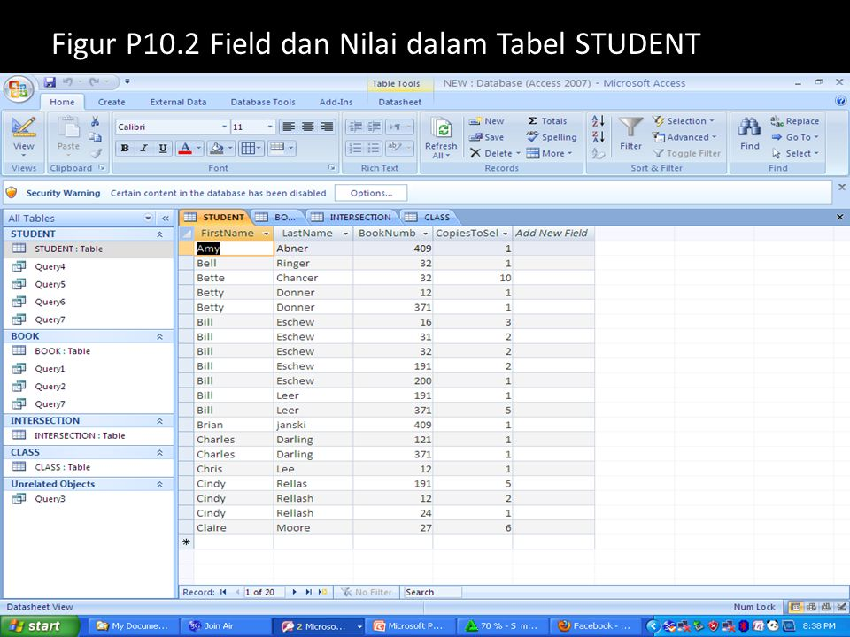 Figur P10.2 Field dan Nilai dalam Tabel STUDENT