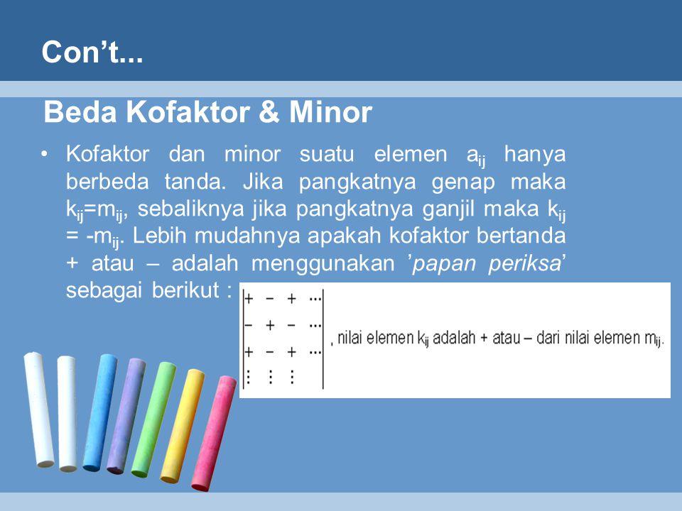 Beda Kofaktor & Minor Kofaktor dan minor suatu elemen a ij hanya berbeda tanda. Jika pangkatnya genap maka k ij =m ij, sebaliknya jika pangkatnya ganj