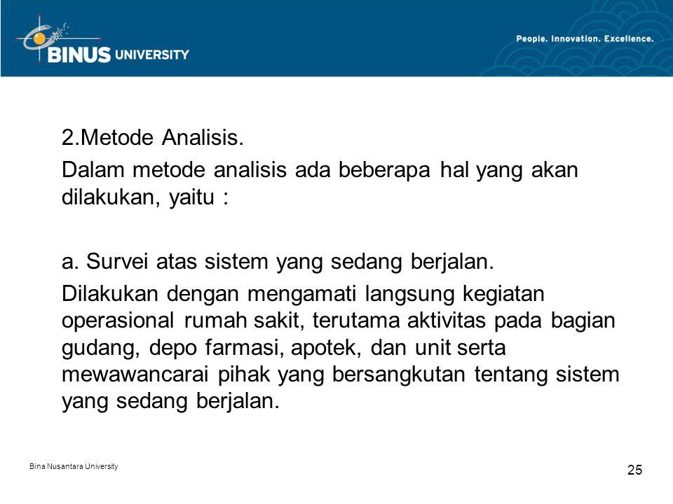 Bina Nusantara University 25 2.Metode Analisis. Dalam metode analisis ada beberapa hal yang akan dilakukan, yaitu : a. Survei atas sistem yang sedang