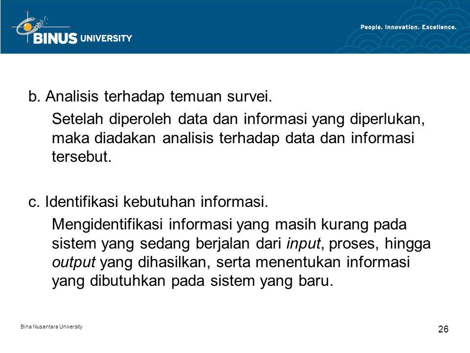 Bina Nusantara University 26 b. Analisis terhadap temuan survei. Setelah diperoleh data dan informasi yang diperlukan, maka diadakan analisis terhadap