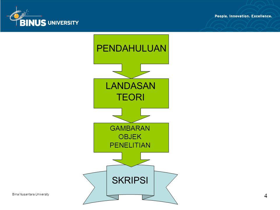 Bina Nusantara University 4 SKRIPSI PENDAHULUAN LANDASAN TEORI GAMBARAN OBJEK PENELITIAN