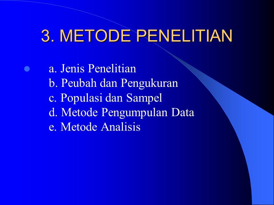 3. METODE PENELITIAN a. Jenis Penelitian b. Peubah dan Pengukuran c. Populasi dan Sampel d. Metode Pengumpulan Data e. Metode Analisis