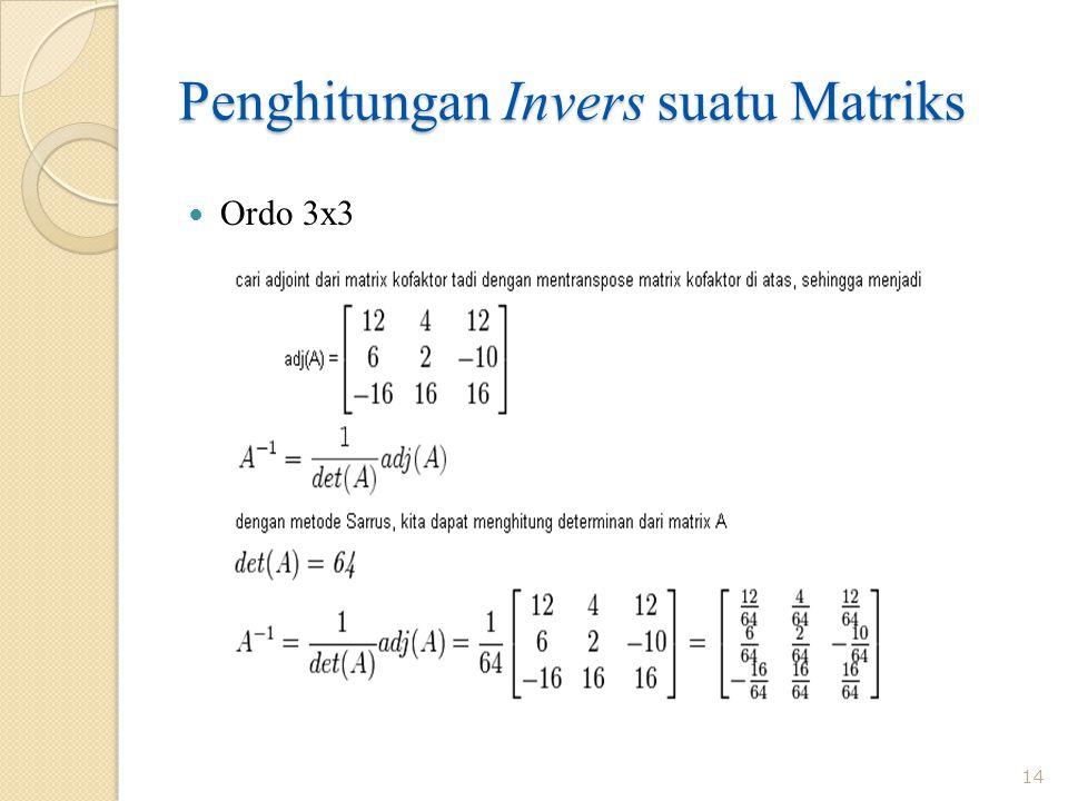 Penghitungan Invers suatu Matriks 14 Ordo 3x3