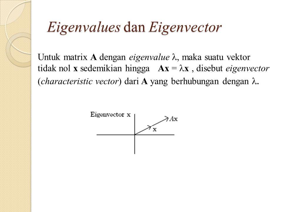 Eigenvalues dan Eigenvector Untuk matrix A dengan eigenvalue, maka suatu vektor tidak nol x sedemikian hingga Ax = x, disebut eigenvector (characteristic vector) dari A yang berhubungan dengan.