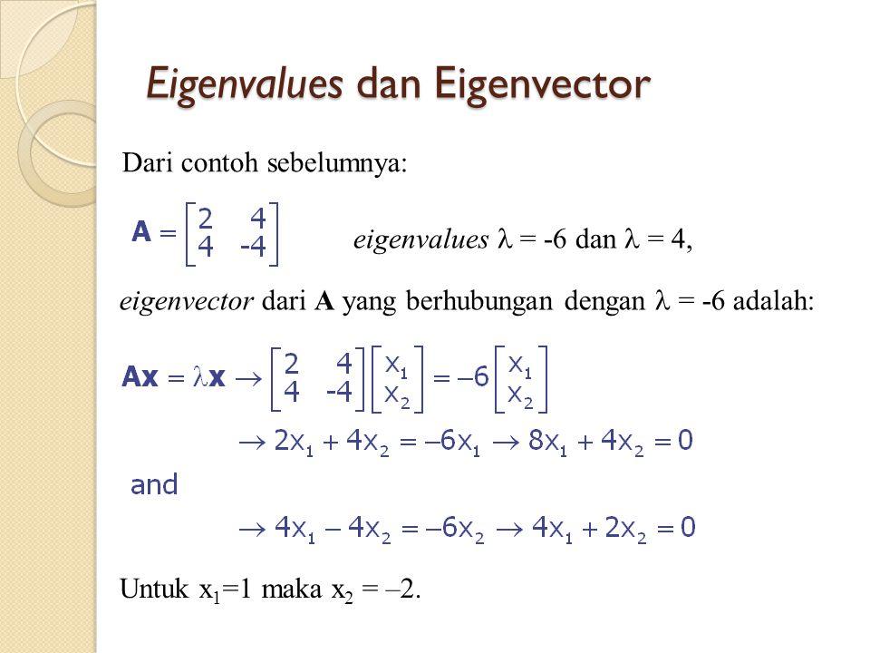 Eigenvalues dan Eigenvector Dari contoh sebelumnya: Untuk x 1 =1 maka x 2 = –2. eigenvalues = -6 dan = 4, eigenvector dari A yang berhubungan dengan =