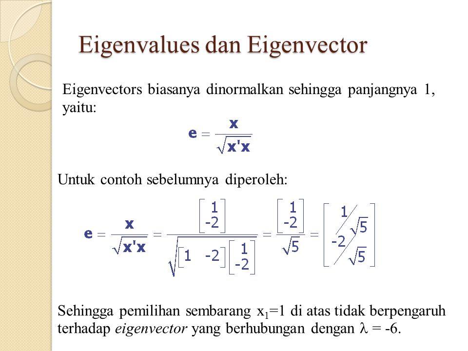 Eigenvalues dan Eigenvector Eigenvectors biasanya dinormalkan sehingga panjangnya 1, yaitu: Sehingga pemilihan sembarang x 1 =1 di atas tidak berpengaruh terhadap eigenvector yang berhubungan dengan = -6.