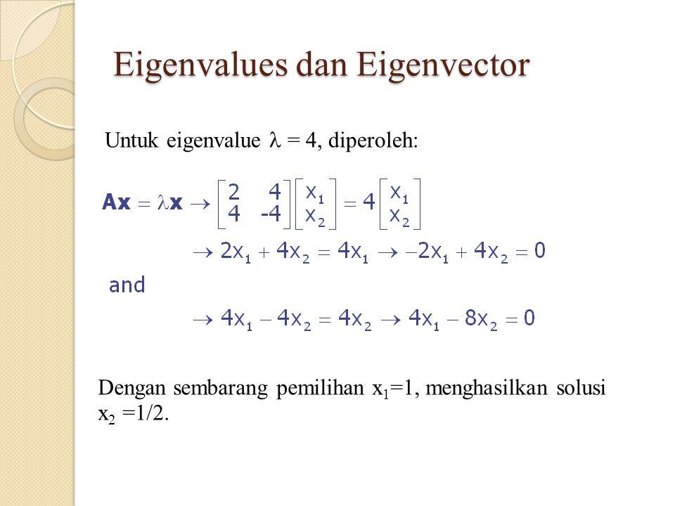Eigenvalues dan Eigenvector Untuk eigenvalue = 4, diperoleh: Dengan sembarang pemilihan x 1 =1, menghasilkan solusi x 2 =1/2.
