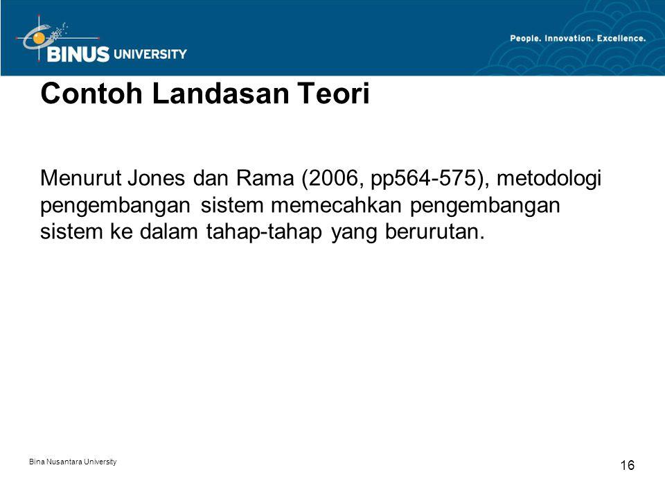 Bina Nusantara University 16 Contoh Landasan Teori Menurut Jones dan Rama (2006, pp564-575), metodologi pengembangan sistem memecahkan pengembangan si