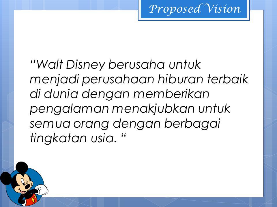 Proposed Vision Walt Disney berusaha untuk menjadi perusahaan hiburan terbaik di dunia dengan memberikan pengalaman menakjubkan untuk semua orang dengan berbagai tingkatan usia.