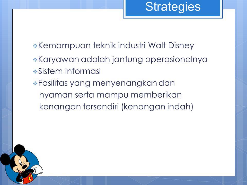  Kemampuan teknik industri Walt Disney  Karyawan adalah jantung operasionalnya  Sistem informasi  Fasilitas yang menyenangkan dan nyaman serta mampu memberikan kenangan tersendiri (kenangan indah) Strategies