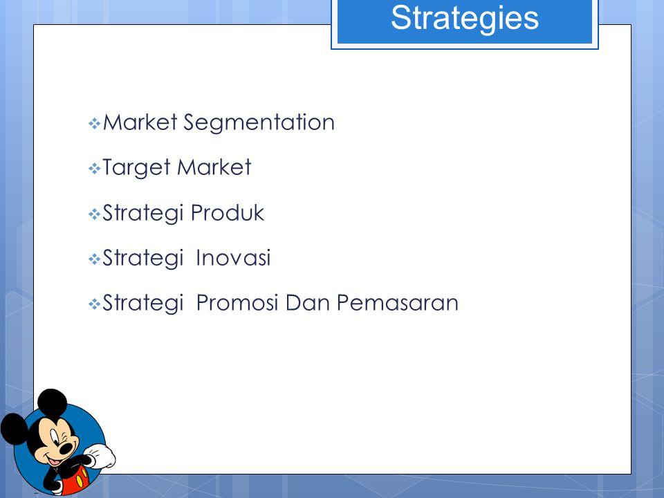 Market Segmentation  Target Market  Strategi Produk  Strategi Inovasi  Strategi Promosi Dan Pemasaran Strategies