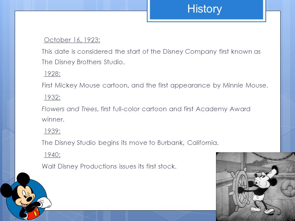 October 16, 1923: This date is considered the start of the Disney Company first known as The Disney Brothers Studio. 1928: First Mickey Mouse cartoon,