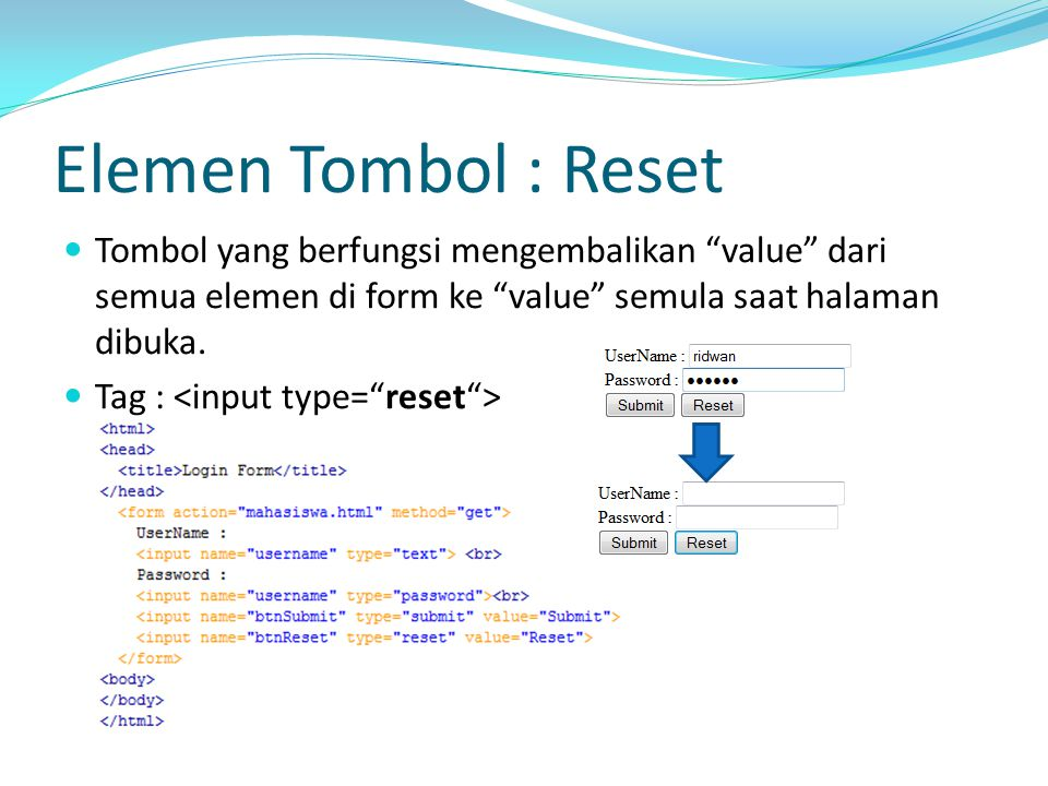Elemen Tombol : Reset Tombol yang berfungsi mengembalikan value dari semua elemen di form ke value semula saat halaman dibuka.