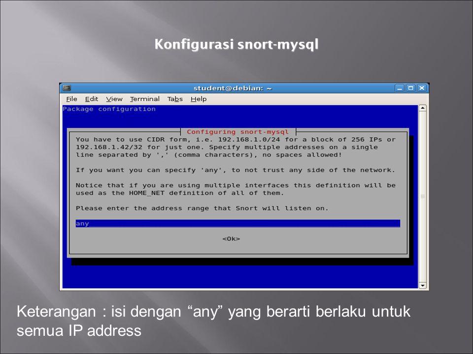"Konfigurasi snort-mysql Keterangan : isi dengan ""any"" yang berarti berlaku untuk semua IP address"