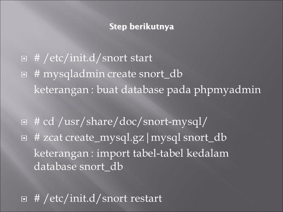 Step berikutnya  # /etc/init.d/snort start  # mysqladmin create snort_db keterangan : buat database pada phpmyadmin  # cd /usr/share/doc/snort-mysq