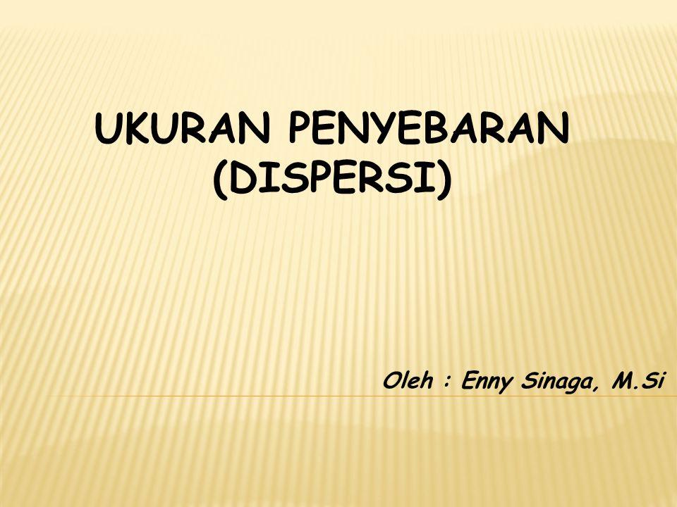 UKURAN PENYEBARAN (DISPERSI) Oleh : Enny Sinaga, M.Si